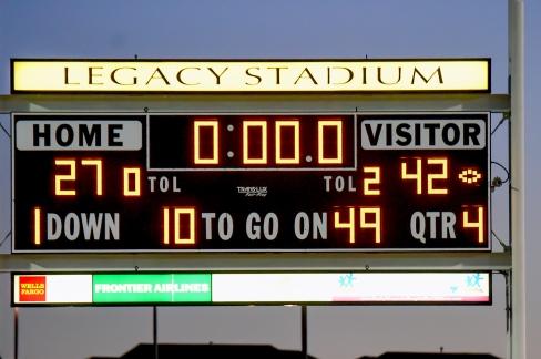 Cherry Creek Eaglecrest football scoreboard