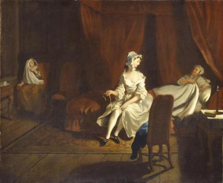 VII: Pamela in the Bedroom with Mrs Jewkes and Mr B. 1743-4 by Joseph Highmore 1692-1780